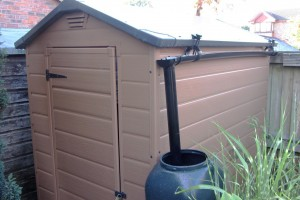 Hall's Rainsaver and Water Butt on Keter 6x4 Shed