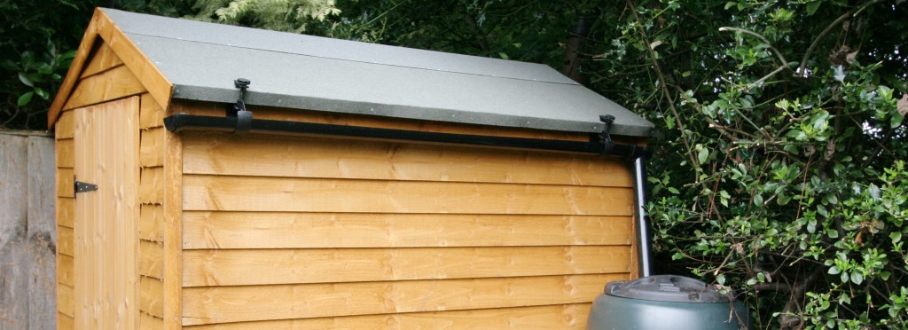6x4 shed with Halls Rainsaver Gutter Kit and water butt